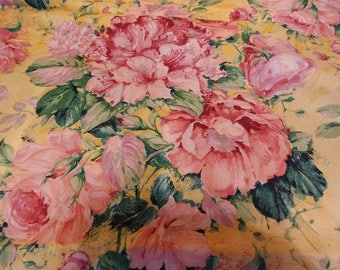 Cyrus Clark Fabric BELLINI Gorgeous Rose Floral on Yellow Background 3 Yard Lot