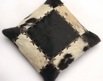 Natural Cowhide Luxurious Patchwork Hairon Cushion/pillow Cover (15''x 15'')a203
