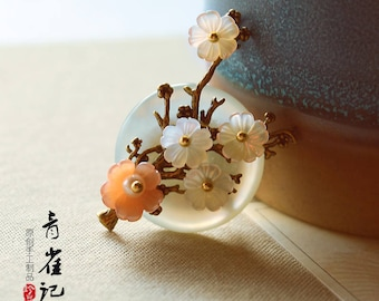 Chinese style  Shell flower brooch pins,breastpin,elegant,gift for women,gift for her