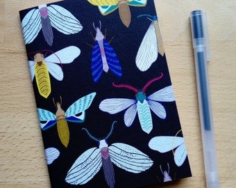 Moth insect pattern A6 notebook by MaggieMagoo Designs