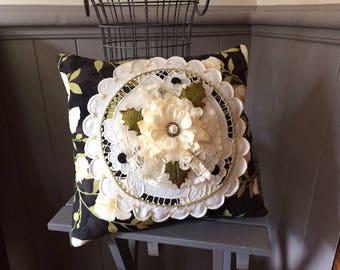 Black Floral Pillow - Flower Pillow - Handmade Pillow - Victorian Pillow
