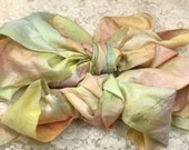 """Hand dyed silk ribbon 2"""" wide 5 yds victorian trim embellishment knitting journaling yarn quilting spinning jewelry beading"""
