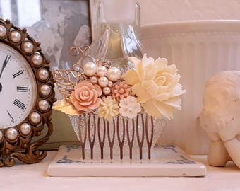 Creamy white rose Blush pink and pearl assemblage wedding comb Rustic hair comb Bridal floral silver hair comb