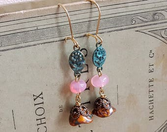 Czech glass earrings Patina earrings Pink and mustard beads rustic earrings Antique gold kidney earwires