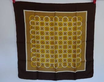 """Vintage Silk Scarf hand rolled circles 22.4"""" x 22"""""""