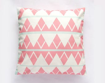 triangle print mint green and coral pastel pillow cover decorative pillow throw pillow