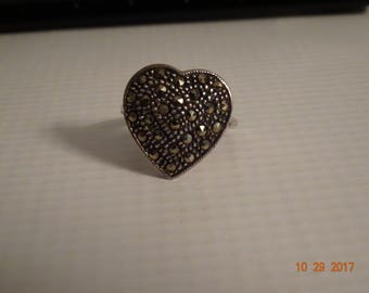 Sterling Silver and Marcasite Heart Ring - size 6