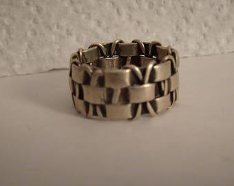 Vintage Sterling Silver Basket Weave Wide Band Ring - size 7 1/2