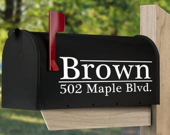 Custom mailbox decal.  Personalized mailbox sticker, set of two or one.
