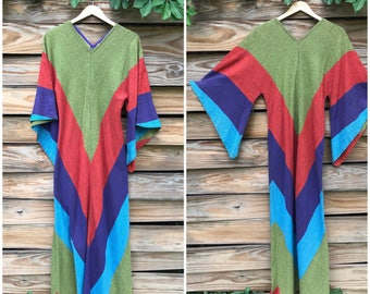 Vintage 1970s Rainbow Stripe Cotton Caftan