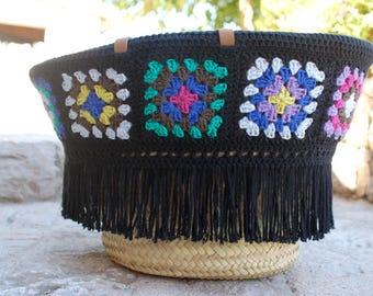 panier plage 'HORUS' crochet carreaux multicolores et noir