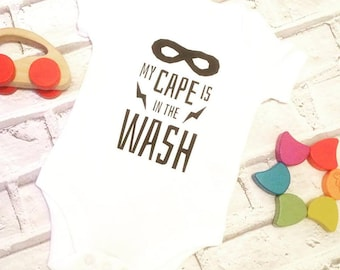 superhero baby vest, cape is in the wash, new baby gift, baby vest, baby shower gift, baby clothing gift, gender neutral, babygrow, bodysuit