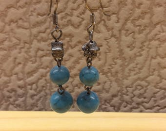 Vintage Blue Turquoise Natural Stone Beaded Women Handmade Earrings