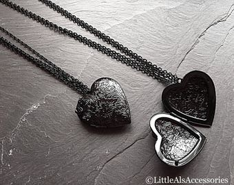 Black Heart Necklace, Gothic Locket, Heart Shaped Locket, Heart Pendant, Long Necklace, Black Necklace, Gothic Jewelry, Gothic Gifts For Her