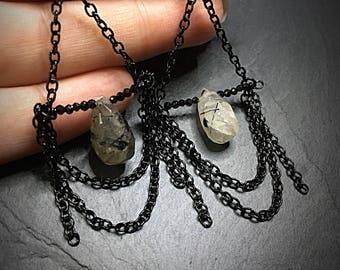Rutilated Quartz Earrings, Quartz Dangles, Rutile Quartz Earrings, Black Drop Earrings, Sparkly Earrings, Black & White Gemstone, Crystal