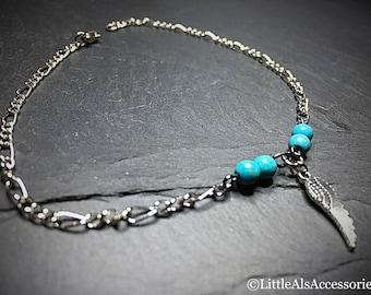 Silver Ankle Bracelet, Boho Gift, Gemstone Jewelry, Delicate Ankle Chain, Ankle Charm, Silver Anklet, Genuine Turquoise, Beaded Ankle Chain