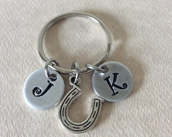 Personalized initials keychain, hand stamped initials with a small Lucky horseshoe charm.