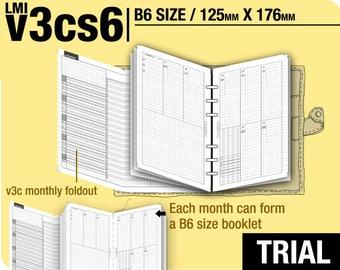 Trial  [B6 v3cs6 w/o daily] November to December 2017  - Filofax Inserts Refills Printable Binder Planner Midori.