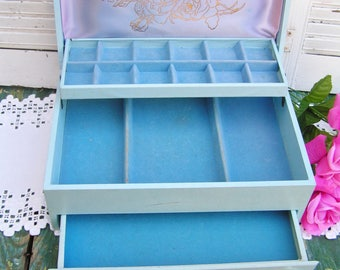 Beautiful Baby Blue with Gold Rose Jewelery Box with Drawer Lots Of Room Cottage Chic Jewelry Box Lined in Velvet