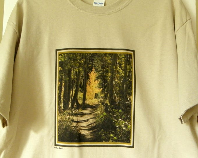 RUSTIC FOREST Crewneck Tshirt created by Pam Ponsart of Pam's Fab Photos in your choice of 3 Colors