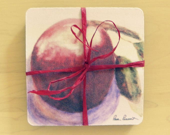 APPLE GIFT SET: A 2-piece bundle created from a reproduction of a watercolor painting by Pam Ponsart and offered by Pam's Fab Photos