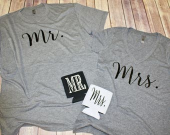 Mr. & Mrs. T-shirt Set. Bride and Groom. Honeymoon. Newlyweds. Just Married.