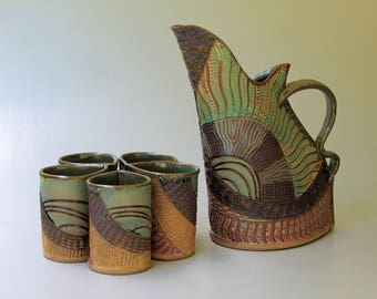 Pitcher Set with Five Cups Pottery Handmade Microwave and Dishwasher Safe