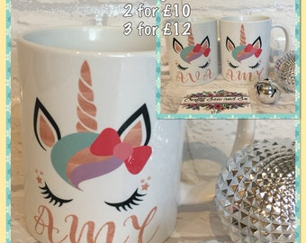 3 Unicorn design personalised mugs