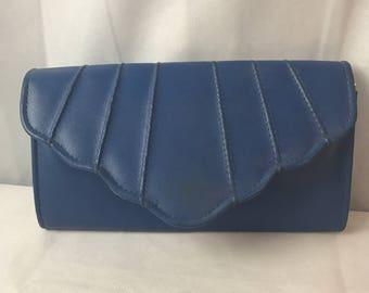 Blue Shell Design Flap Evening Bag