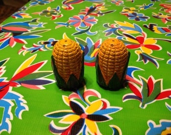 Vintage hand painted chalk ware corn on the cob salt and pepper shakers
