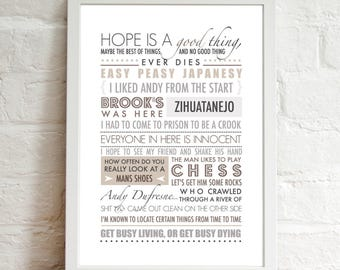 INSTANT DIGITAL DOWNLOAD . . . The Shawshank Redemption Inspired Quote . 90's Movie . Modern Typography . Printable Artwork .
