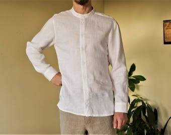 White linen classic handmade men's shirt