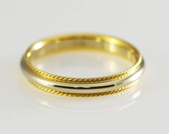 14k White and Yellow Solid Gold Two Tone Band Size 11