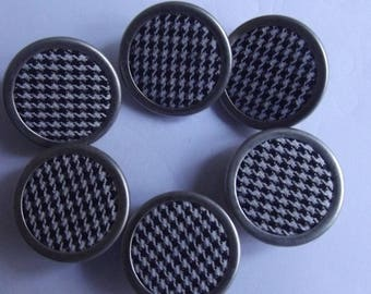 """12 houndstooth and 18mm diameter silver metal 18 mm """"ASTOR"""" fabric buttons"""