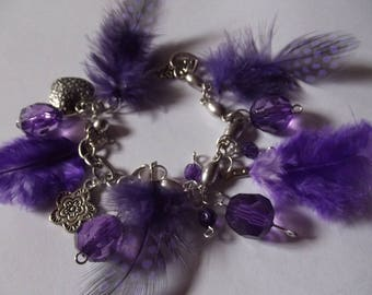 feathers, beads and charms bracelet