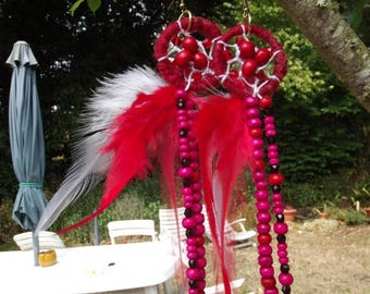 """Earrings feathered """"dream catcher"""" Red"""