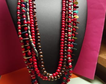 Necklace 5 rows 45cm, multicolored beads