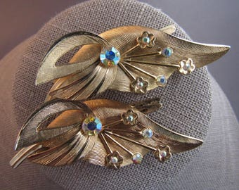 Vintage  designer gold tone Aurora Borealis rhinestone hair clip set