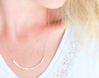 Hammered Curved Bar, Crescent bar necklace, 14kt Gold filled Bar Necklace, Hand stamped, Gold Necklace, Nameplate Necklace, Bridesmaid