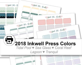2018 Inkwell Press Planner & others Rounded Half Box Printable Sticker Kit, Tidal Pool, Sea Glass, Coral Reef, Lagoon - Instant Download