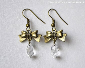 SWAROVSKI Crystal White cone earrings / bronze (BL14)