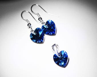 SWAROVSKI crystal blue heart ornament / silver plated