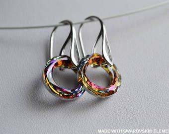 SWAROVSKI earrings Crystal multicolor ring / 925 sterling silver