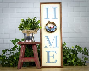 Traditional Home Sign, Housewarming Gift, Welcome, Alzheimers Awareness, Twig Wreath, Bird Nest, Forget Me Not Flowers, Gift for Home