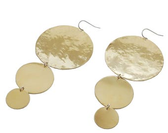 Circled Hammered Earrings; Brass Earrings; Geometric Earrings; Boho Earrings; Statement Earrings; Circle Earrings; Dangle Circle Earrings