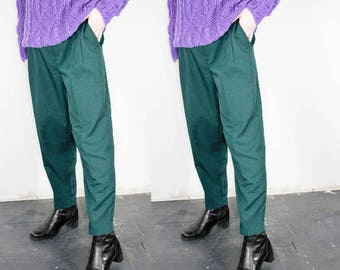 Forest Green Trousers / High Waisted Tapered Leg Pant / L 30 Inch Waist