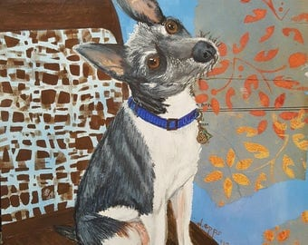 Blue, custom pet portrait