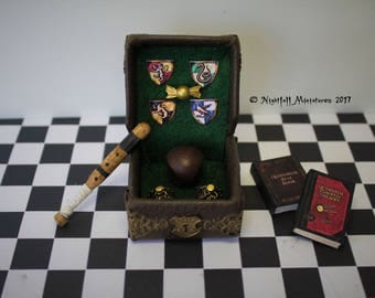 Dollhouse Miniature Magic Harry Potter Inspired Quidditch leather case  and books in 1:12 scale
