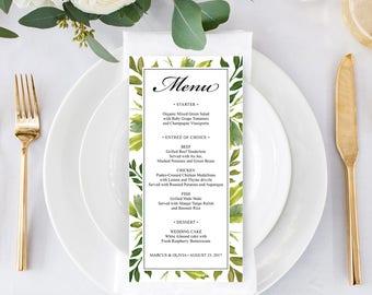 "Menu - DIY Wedding Menu - Rustic Wedding - DIY Shower Menu - 4"" x 8"" Menu - Bridal Shower Menu - Printable Menu - Simple Greens Menu"