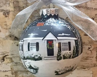 Our First Christmas House Ornament //First Home Ornament // Housewarmimg Gift// Personalized House Painting Ornament//Real Estate Agent Gift